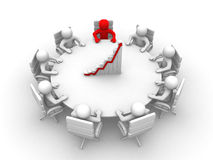 3d som har mannen möte den runda sittande tabellen Arkivbild