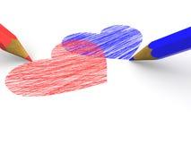 3d som visar hjärtablyertspennor Arkivfoto
