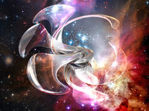 3D space abstract. Digital 3D abstract  creation into space background Royalty Free Stock Photography