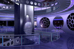 3D spaceship interior rendering stock images