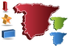 3D Spain Country Map. Isolated on a white background Stock Image