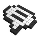 3d speak bubble pixel icon. Black and white illustration Stock Image