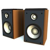 3D Speakers. Two 3D Speakers ( Made of Brown Wood And Gray Metal) Isolated on White Background royalty free illustration