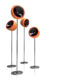 3D  speakers on stands. Isolated 3D orange  speakers on cool modern legs Royalty Free Stock Images