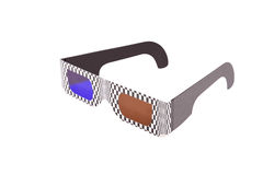 3D Specs. Cheap cardboard 3D spectacles with blue and amber lenses isolated against white background Royalty Free Stock Images