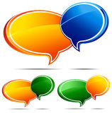 3D Speech bubbles. Speech bubbles Orange and Blue , Orange and Green and Green and Orange Royalty Free Stock Photo