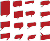 3D Speech And Thought Bubbles in red Royalty Free Stock Images