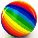 3d sphere with color stripes. Isolated on white Stock Photos