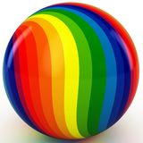 3d sphere with color stripes. Isolated on white Stock Photography