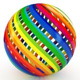 3d sphere with color stripes. Isolated on white Royalty Free Stock Photography