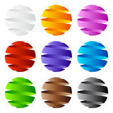 3D sphere icon and logo design. Collection of 9 vector modern spiral 3D sphere icons in many colors on white background Stock Image