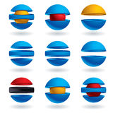 3d sphere  icons set. 3d sphere  icons set of 9 examples Stock Images