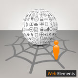 3d sphere with internet elements. Vector illustration of 3d sphere with internet elements Stock Images