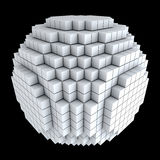 3D sphere made of cubes. Isolated on black background Stock Image