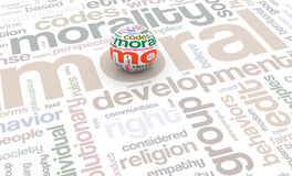 3d sphere on moral wordcloud Stock Photo