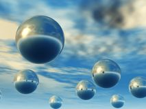 3D spheres. In the open sky (effect glamour with fantastic paints of the sky Stock Photos