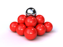 3d spheres. Bunch of red 3d spheres with a chromed one on top (3d render Royalty Free Stock Photos