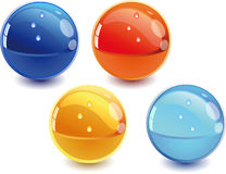3d spheres. 3d Color vector spheres with color shadows and water drops Royalty Free Stock Image