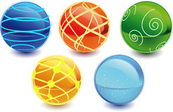 3d spheres. 3d Color vector spheres with color shadows Stock Photos
