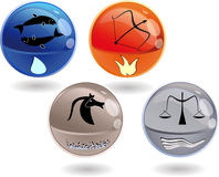 3d spheres. Cardinal signs from all 4 nature elements. Fire - Sagittarius. Water - Pisces. Earth - Capricorn.Air - Libra Royalty Free Stock Image