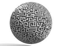 3D spherical labyrinth. 3D labyrinth in black and white Stock Photos