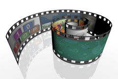 3d spiral film strip. 3d render of spiral film strip with images Royalty Free Stock Photography