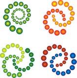 3D spirals in multicolour. 3D Retro styled editable spirals vector illustration