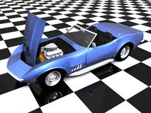 3D Sports car hood up. 3D Sports car with hood up on showroom Royalty Free Stock Image