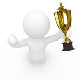 3D sportsperson holding trophy Stock Photography