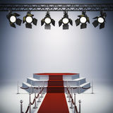 3d spot lights and stage setup Royalty Free Stock Images