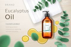Free 3d Spray Bottle With Eucalyptus Oil, Blob, Branch Royalty Free Stock Image - 128092986