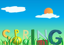 3D spring text stock photo