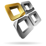 3D squares icon. 3D rounded steel squares with golden one stock illustration
