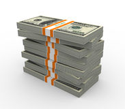 3d stack of dollar packs. Stack of ten thousand dollar bills. 3d rendered on white background stock illustration