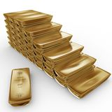 3d stack of gold bars Royalty Free Stock Images