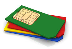 3d stack of sims cards Royalty Free Stock Images