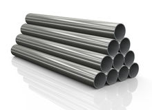 3d stack of steel pipes Stock Photo