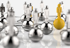 3d Stainless Human Social Network And Leadership As Concept Stock Photography