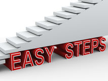 3d stairs easy steps. 3d render of stairs and phrase easy steps Royalty Free Stock Photos