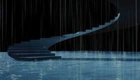 3d stairs rainy Royalty Free Stock Photography