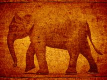3D stamp elephant on wood Stock Photo