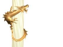 3d standbeeld van de gouden draak die een kolom verdraait Royalty-vrije Stock Fotografie