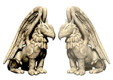 3d standbeeldengriffioen van steen Royalty-vrije Stock Foto's