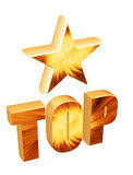 3d star and word top. 3d star above the word top Stock Photography