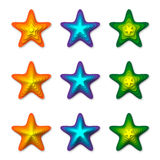 3D Stars. Nine Stars With Depth and Shadows Creating a 3D Illusion Stock Photo