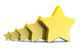 3d stars. Abstract 3d illustration of five stars over white background Royalty Free Stock Images