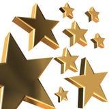3D stars. 3D rendering of golden stars on white background Royalty Free Stock Images