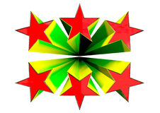 3D Stars. CG Retro 3D exploding stars Stock Images