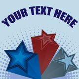3D Stars Background Illustration. Vector illustration of red and blue stars with halftone background and space for text Royalty Free Stock Image