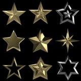3D stars collection on black BG Royalty Free Stock Photo